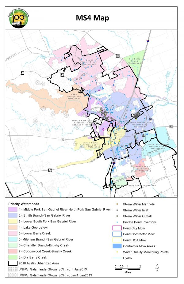 This maps outlines City priority watersheds and stormwater assets